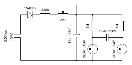 circuit diagram of the twin lamp multivibrator