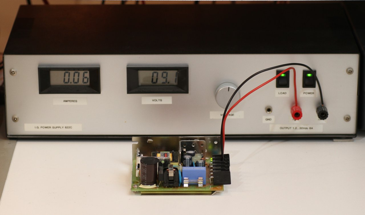 A SMPS being powered on its output by an external laboratory DC power supply  to check