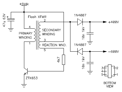 test circuit of the high voltage generator to determine winding phase and  configuration