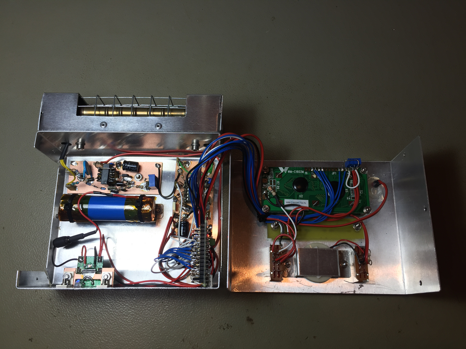 A Twin Tube Geiger Counter Diy Circuit This Picture Shows The Complete Instrument Open On Bench Back View Click