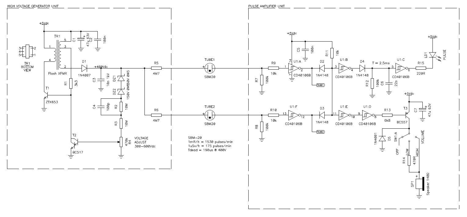 Circuit diagram of the whole analog section (high voltage generator unit,  Geiger tubes and